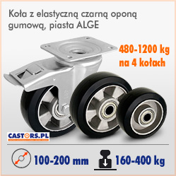 Kółka do dużych obciażeń aluminiowo gumowe