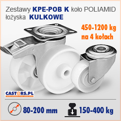 Koła i zestawy poliamidowe kółka skrętne z hamulcem KULOKOWE KPE-POB K