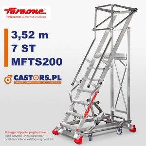 Drabina przemysłowa magazynowa jezdna Faraone MFTS200 - 7 stopni - 3,52m