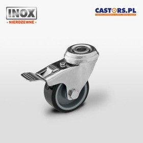 Zestaw kołowy nierdzewny skrętny z hamulcem CAST-MX050TPAHS-BK INOX z gumą szarą termoplatyczną piasta polipropylen 40 kg / 50mm/ ślizgowe