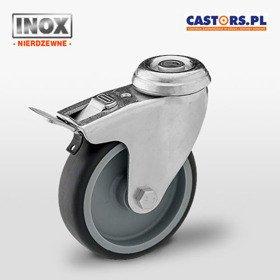 Zestaw kołowy nierdzewny skrętny z hamulcem KMA-TPA 75S-HC INOX (MX075TPAHS-BK) z czarną gumą piasta polipropylen 60 kg / 75mm / ślizgowe