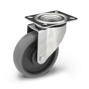 Zestaw kołowy skrętny KPE-WTE 125K1 (40) z szarą gumą piasta polipropylenowa Nośność 150 kg / 125mm/ kulkowe