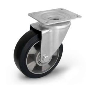 Zestaw kołowy skrętny KPM-ALGE 160K z kołem gumowym piasta aluminium. Nośność 300 kg / 160mm/ kulkowe