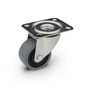 Zestaw kołowy skrętny  KPM-POOGES 125K1 z kołem gumowym piasta poliamid. Nośność 220 kg / 125mm/ kulkowe