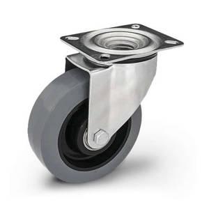 Zestaw kołowy skrętny KPM-POOGES 160K z kołem gumowym piasta poliamid. Nośność 300 kg / 160mm/ kulkowe