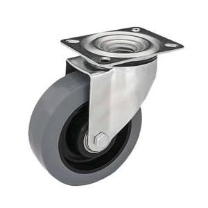 Zestaw kołowy skrętny KPM-POOGES 200K z kołem gumowym piasta poliamid. Nośność 400 kg / 200mm/ kulkowe