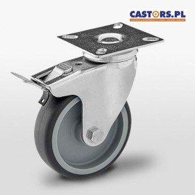 Zestaw kołowy skrętny z hamulcem KPA-TPA 100S-HC z czarną gumą piasta poliamid Nośność 90 kg / 100mm/ ślizgowe