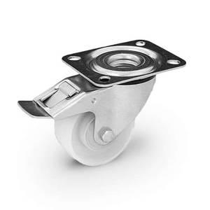 Zestaw kołowy skrętny z hamulcem KPE-POB 125K1-HC z kołem poliamidowym. Nośność 150 kg / 125mm/ kulkowe