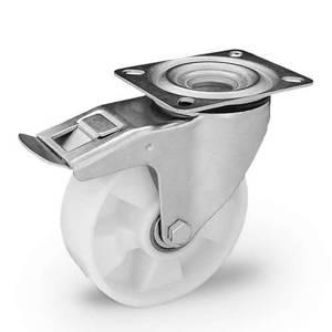 Zestaw kołowy skrętny z hamulcem KPE-POBW 200K-HC z kołem poliamidowym. Nośność 400kg / 200mm/ kulkowe