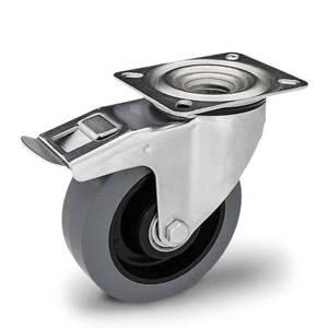 Zestaw kołowy skrętny z hamulcem KPM-POOGES 160K-HC z kołem gumowym piasta poliamid. Nośność 300 kg / 160mm/ kulkowe