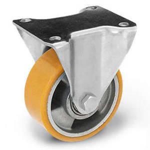 Zestaw kołowy stały TPM-ALPU 125K z kołem z nalewanym bieżnikiem poliuretanowym. Nośność 300 kg / 125mm/ kulkowe