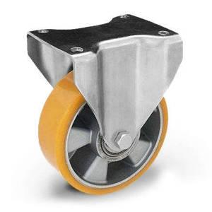 Zestaw kołowy stały TPM-ALPU 160K z kołem z nalewanym bieżnikiem poliuretanowym. Nośność 500 kg / 160mm/ kulkowe