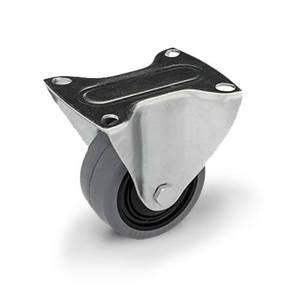 Zestaw kołowy stały TPM-POOGES 100K1 z kołem gumowym piasta poliamid. Nośność 160 kg / 100mm/ kulkowe