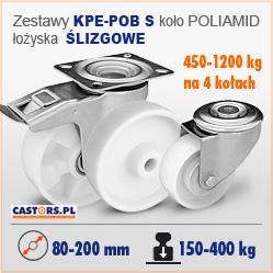 Koła i zestawy poliamidowe kółka skrętne z hamulcem Ślizgowe KPE-POB S