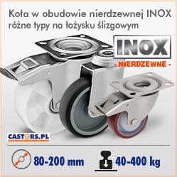 Kółka koła nierdzewne w obudowach INOX