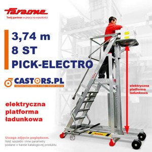 Drabina magazynowa CASTMAG jezdna PICK-ELECTRO 3,74m  z elektrycznym podestem ładunkowym 8-stopniowa