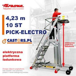 Drabina magazynowa CASTMAG jezdna PICK-ELECTRO 4,23m z elektrycznym podestem ładunkowym 10-stopniowa