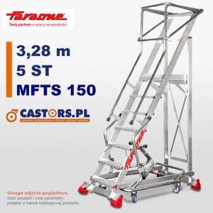 Drabina przemysłowa magazynowa CASTMAG jezdna Faraone MFTS150 - 5 stopni - 3,28 m