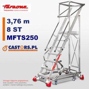Drabina przemysłowa magazynowa CASTMAG jezdna Faraone MFTS250 - 8 stopni - 3,76 m