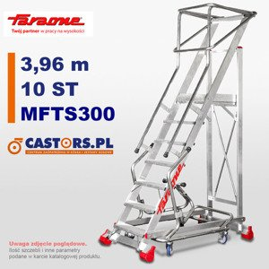 Drabina przemysłowa magazynowa CASTMAG jezdna Faraone MFTS300 - 10 stopni - 3,96m
