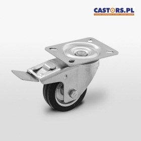Zestaw kołowy skrętny z hamulcem CKPW-SG 100W-HC  koło metalowo-gumowe stalowa piasta  Nośność 70 kg / 100mm / wałeczkowe