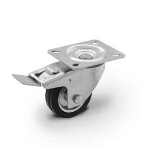 Zestaw kołowy skrętny z hamulcem CKPW-SG 125W-HC  koło metalowo-gumowe stalowa piasta  Nośność 100 kg / 125mm / wałeczkowe