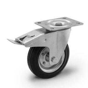 Zestaw kołowy skrętny z hamulcem CKPW-SG 200W-HC  koło gumowe stalowa piasta  Nośność 230 kg / 200mm / wałeczkowe